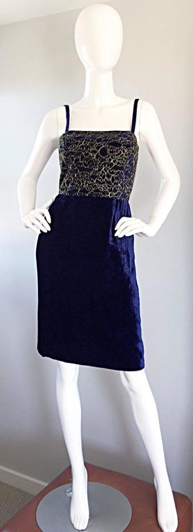Women's Beautiful New Luca Luca Royal Blue + Gold Velvet And Lace Cocktail Dress NWT For Sale