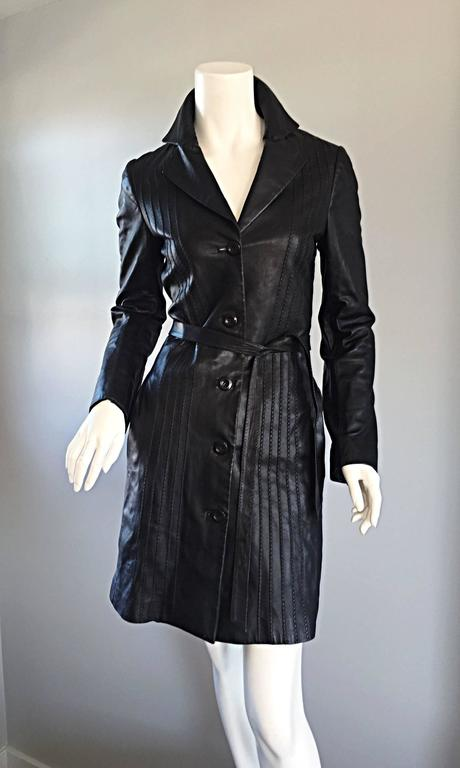 Women's Katayone Adeli Black Leather Belted Spy Trench Jacket / Coat Dress For Sale