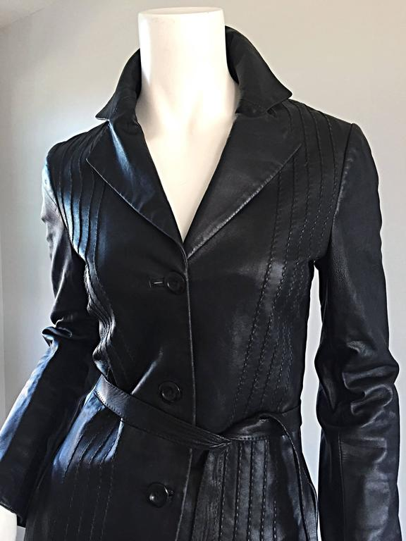 Katayone Adeli Black Leather Belted Spy Trench Jacket / Coat Dress 8