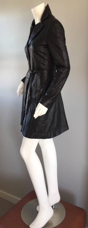 Katayone Adeli Black Leather Belted Spy Trench Jacket / Coat Dress In Excellent Condition For Sale In San Francisco, CA