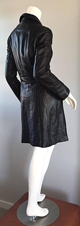 Katayone Adeli Black Leather Belted Spy Trench Jacket / Coat Dress 6