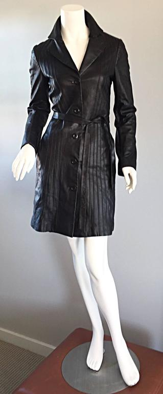 Katayone Adeli Black Leather Belted Spy Trench Jacket / Coat Dress For Sale 1