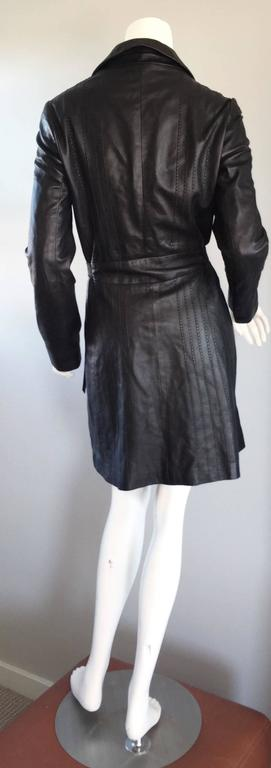 Katayone Adeli Black Leather Belted Spy Trench Jacket / Coat Dress For Sale 3