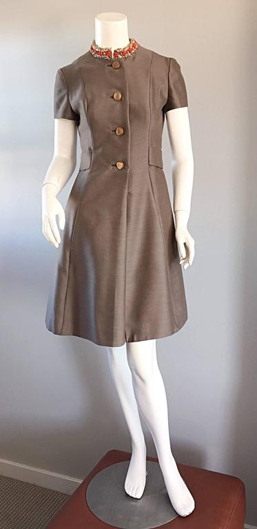 Women's Beautiful 1960s 60s Gino Charles Beaded Raw Silk Taupe A - Line Vintage Dress  For Sale
