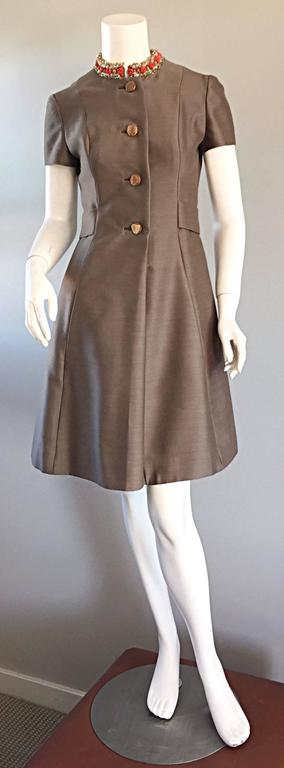 Gray Beautiful 1960s 60s Gino Charles Beaded Raw Silk Taupe A - Line Vintage Dress  For Sale