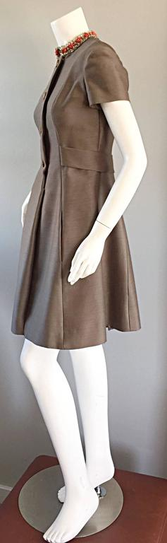 Beautiful 1960s 60s Gino Charles Beaded Raw Silk Taupe A - Line Vintage Dress  For Sale 5