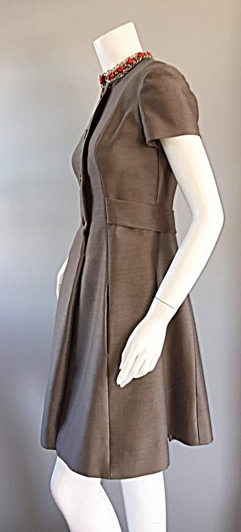 Beautiful 1960s 60s Gino Charles Beaded Raw Silk Taupe A - Line Vintage Dress  For Sale 1