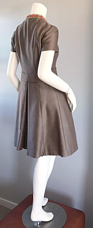 Beautiful 1960s 60s Gino Charles Beaded Raw Silk Taupe A - Line Vintage Dress  In Excellent Condition For Sale In Chicago, IL