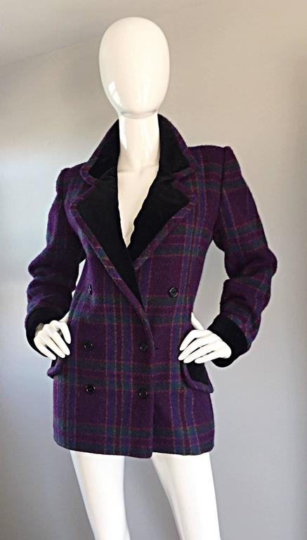 Vintage Emanuel Ungaro Purple, Green, Fuchsia Plaid Wool & Velvet Jacket Blazer 6