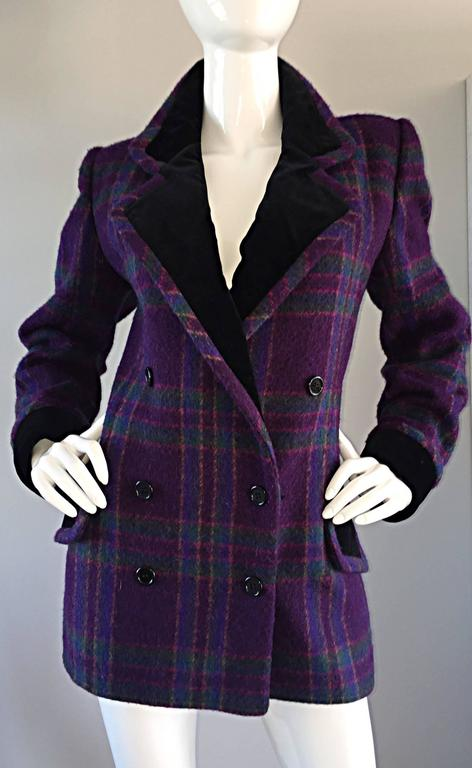 Vintage Emanuel Ungaro Purple, Green, Fuchsia Plaid Wool & Velvet Jacket Blazer 4