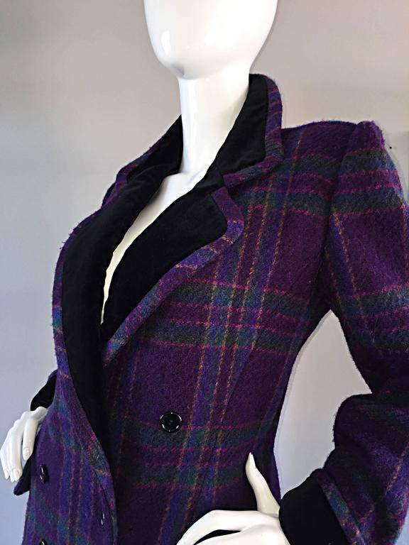 Vintage Emanuel Ungaro Purple, Green, Fuchsia Plaid Wool & Velvet Jacket Blazer 7