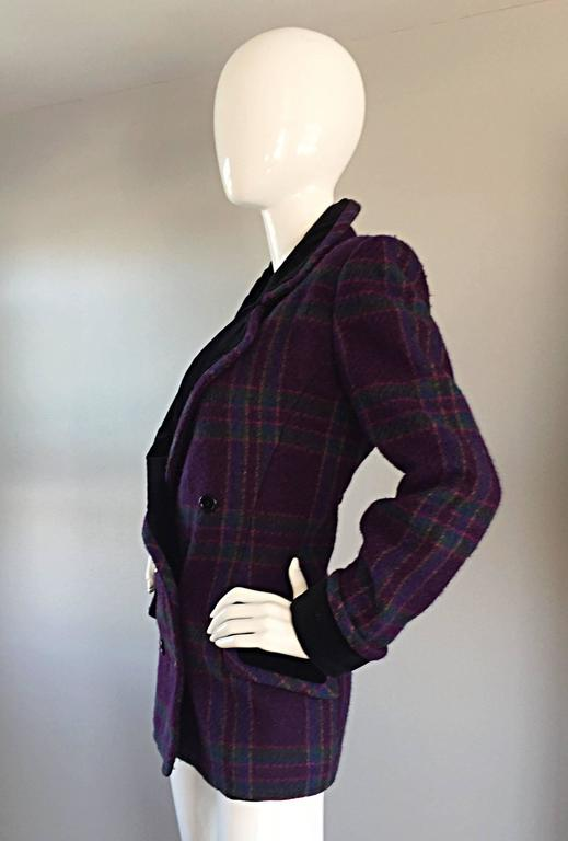 Vintage Emanuel Ungaro Purple, Green, Fuchsia Plaid Wool & Velvet Jacket Blazer 3