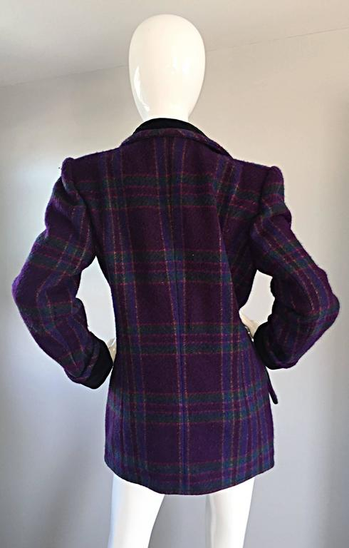 Vintage Emanuel Ungaro Purple, Green, Fuchsia Plaid Wool & Velvet Jacket Blazer 5