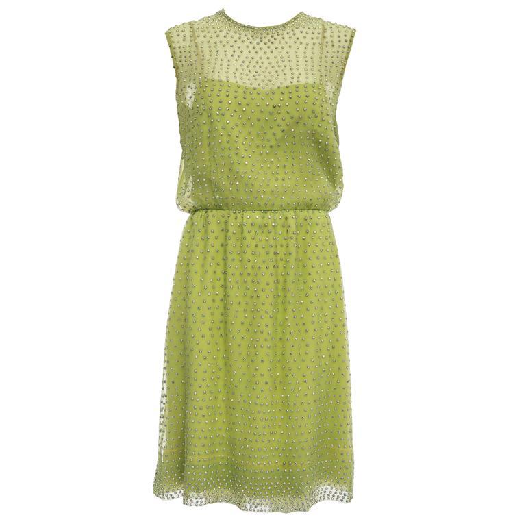 Harvey Berin designed by Karen Stark Dress With Prong Set Crystals, Circa 1960's