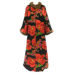 Maximillian Quilted Floral Silk Coat with Mink Trim