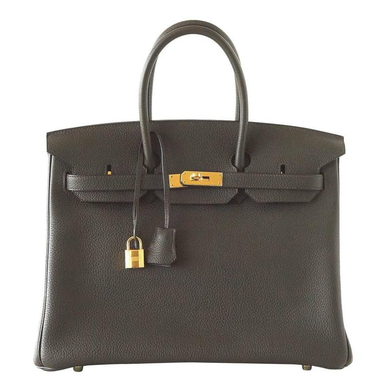 Hermes Birkin 35 Bag Rare Vert Bronze Olive Veau Trekking Leather Gold Hardware 1