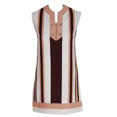 Gucci Couture Cotton-Pique Striped Ivory Brown Pink Space-Age Mini Dress, 1968