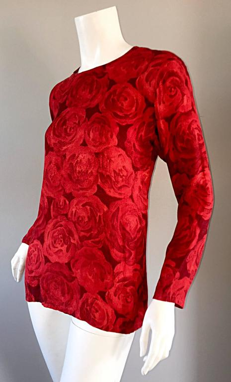 Vintage Yves Saint Laurent YSL ' Rive Gauche ' Rose Print Silk Blouse Top  In Excellent Condition For Sale In Chicago, IL