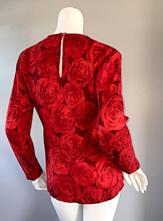 Women's Vintage Yves Saint Laurent YSL ' Rive Gauche ' Rose Print Silk Blouse Top  For Sale