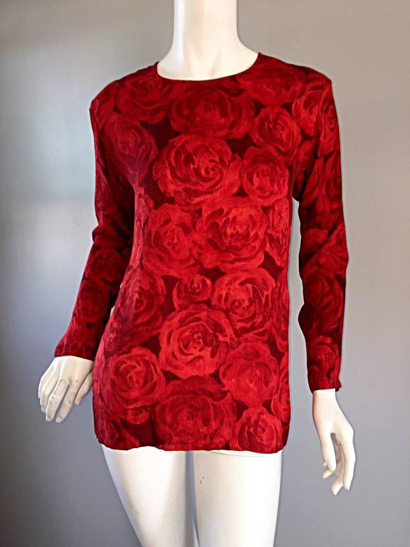 Vintage Yves Saint Laurent YSL ' Rive Gauche ' Rose Print Silk Blouse Top  For Sale 1