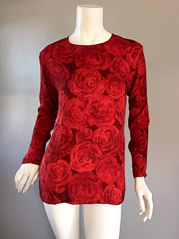 Vintage Yves Saint Laurent YSL ' Rive Gauche ' Rose Print Silk Blouse Top  For Sale 2