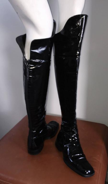 Coveted Chanel Black Patent Leather Over The Knee Riding