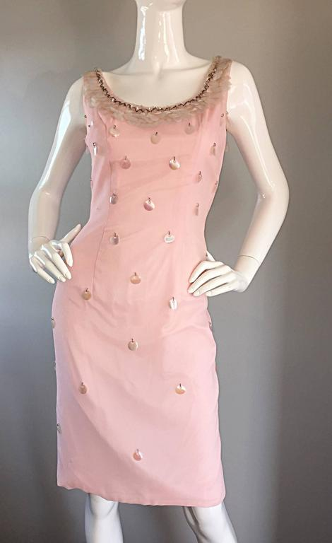 1960s Lilli Diamond Brand New Light Pink Silk Wiggle Dress w/ Paillettes + Beads In New Condition For Sale In Chicago, IL
