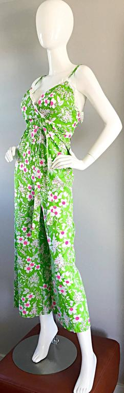 Women's Amazing Vintage 1970s 70s Jumpsuit In Neon Green + Pink + White w/ Flowers Lace For Sale