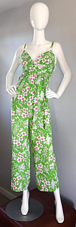 Amazing Vintage 1970s 70s Jumpsuit In Neon Green + Pink + White w/ Flowers Lace For Sale 1