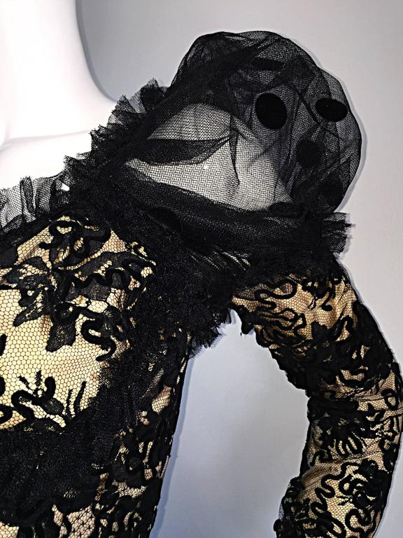 Beautiful Vintage 1980s Isabelle Allard Black & Nude French Lace Pouf Dress  For Sale 6
