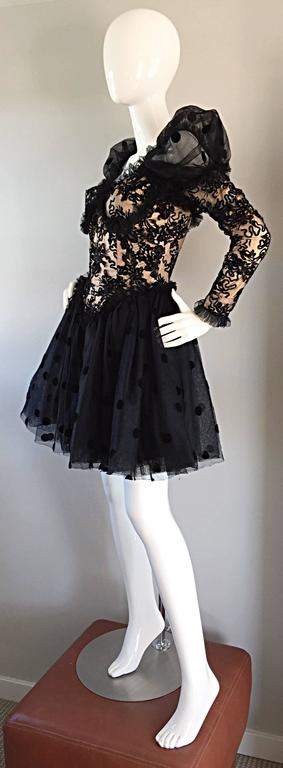 Beautiful Vintage 1980s Isabelle Allard Black & Nude French Lace Pouf Dress  For Sale 1