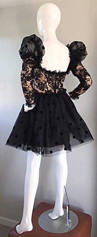 Absolutely beautiful vintage Isabelle Allard COUTURE Avant Garde black and nude French Lace dress! Black silk lace overlay, with nude silk underlay. Chic semi sheer 'pouf sleeves,' with a full skirt (layers and layers of black polka dot tulle). Four