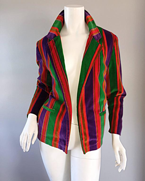Wonderful Vintage I. Magnin 70s Rainbow Striped Velvet Blazer Jacket  4