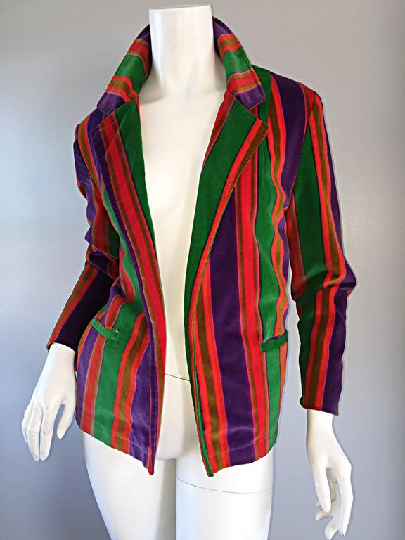 Wonderful Vintage I. Magnin 70s Rainbow Striped Velvet Blazer Jacket  5