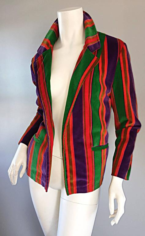 Wonderful Vintage I. Magnin 70s Rainbow Striped Velvet Blazer Jacket  6