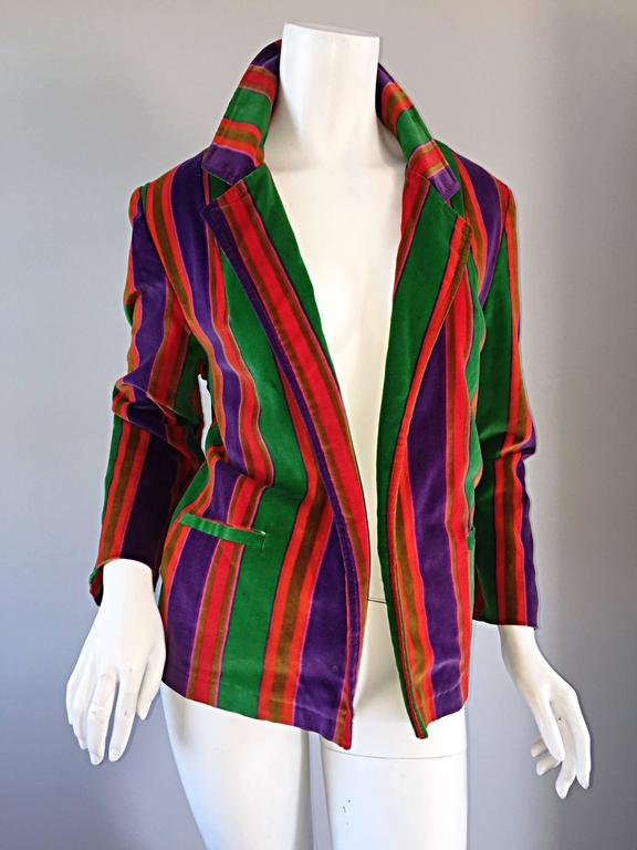 Wonderful Vintage I. Magnin 70s Rainbow Striped Velvet Blazer Jacket  7
