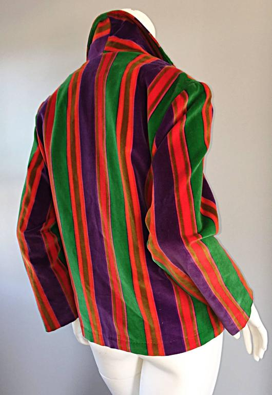 Wonderful Vintage I. Magnin 70s Rainbow Striped Velvet Blazer Jacket  2