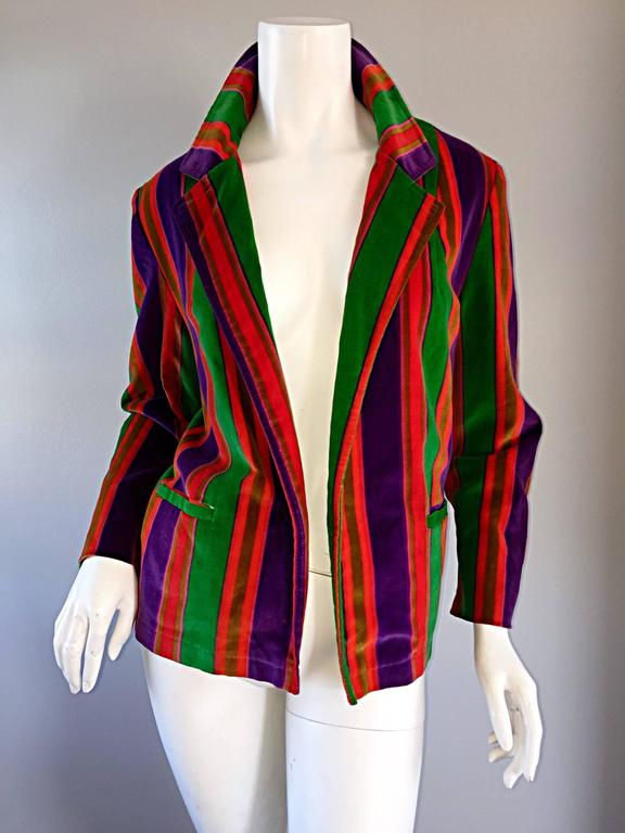 Wonderful Vintage I. Magnin 70s Rainbow Striped Velvet Blazer Jacket  3
