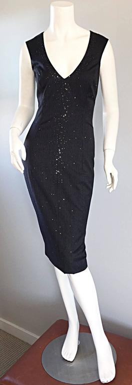 Exquisite Vintage James Purcell BNWT $2,300 Gray Pinstripe Dress Black Crystals For Sale 2