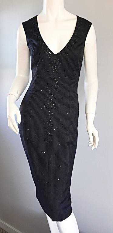 Exquisite Vintage James Purcell BNWT $2,300 Gray Pinstripe Dress Black Crystals For Sale 1