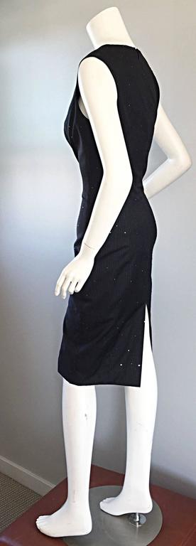 Exquisite Vintage James Purcell BNWT $2,300 Gray Pinstripe Dress Black Crystals In New Condition For Sale In Chicago, IL