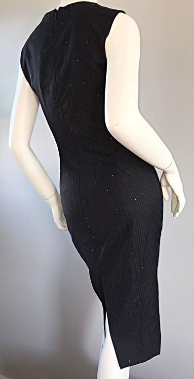 Women's Exquisite Vintage James Purcell BNWT $2,300 Gray Pinstripe Dress Black Crystals For Sale