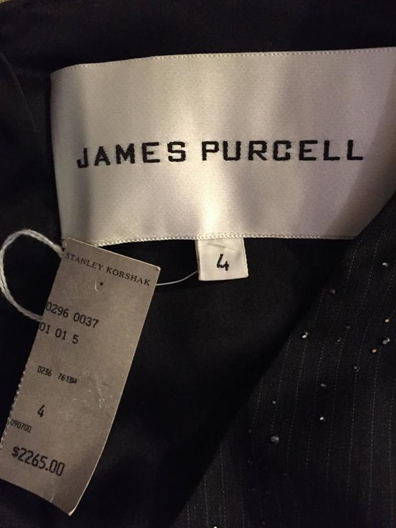 Exquisite Vintage James Purcell BNWT $2,300 Gray Pinstripe Dress Black Crystals For Sale 3