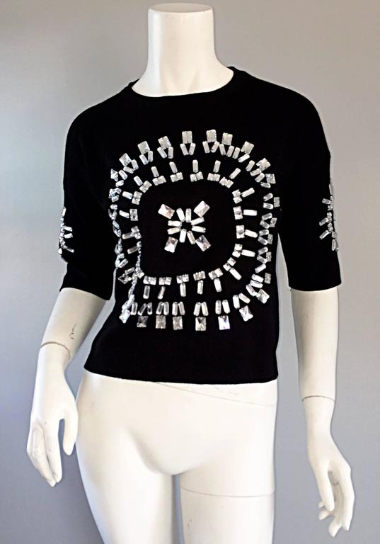 Women's Incredible Iconic Vintage Christian Lacroix Black Top w/ Mirror Embellishments  For Sale