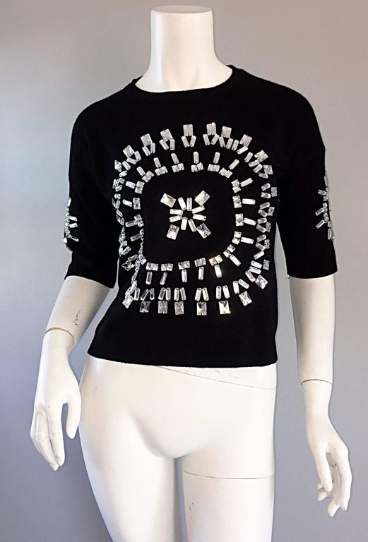 Incredible Iconic Vintage Christian Lacroix Black Top w/ Mirror Embellishments  For Sale 1