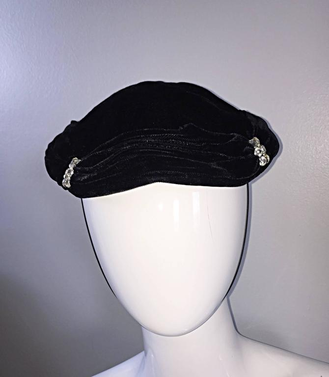 Gray Beautiful 1940s Silk Velvet Vintage Black Hat w/ Rhinestones and Chin Strap For Sale