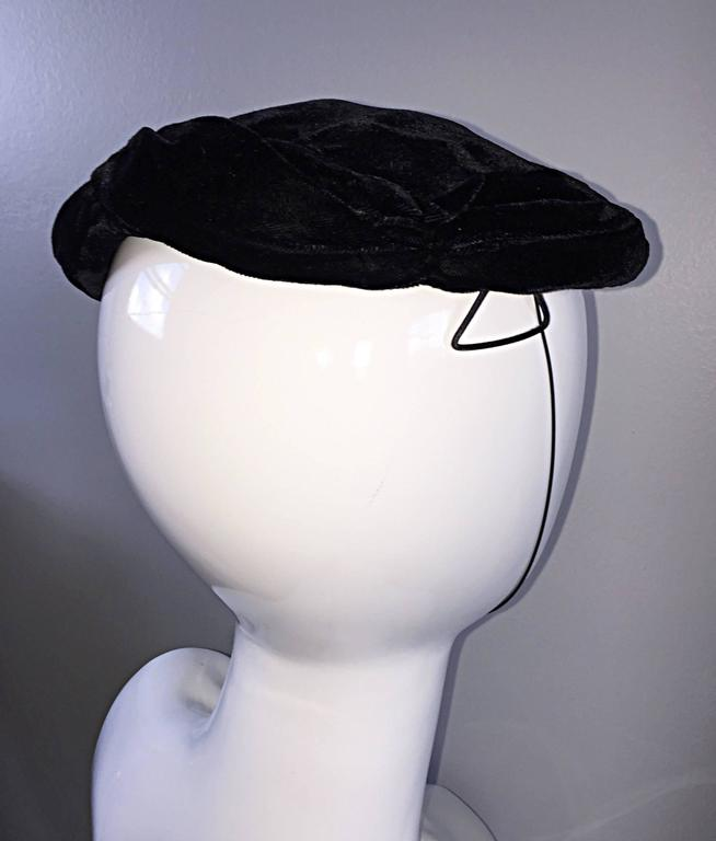 Women's Beautiful 1940s Silk Velvet Vintage Black Hat w/ Rhinestones and Chin Strap For Sale