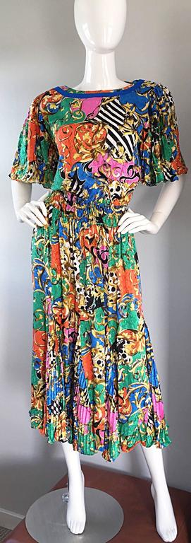 Black Amazing Vintage Diane Freis Psychedelic Colorful Bohemian Boho Dress For Sale
