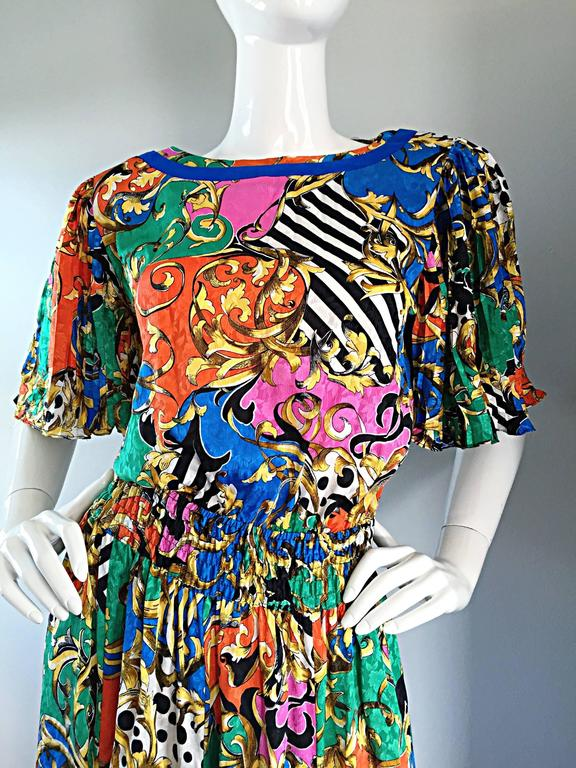 0afc363ea2 Amazing Vintage Diane Freis Psychedelic Colorful Bohemian Boho Dress For  Sale 3