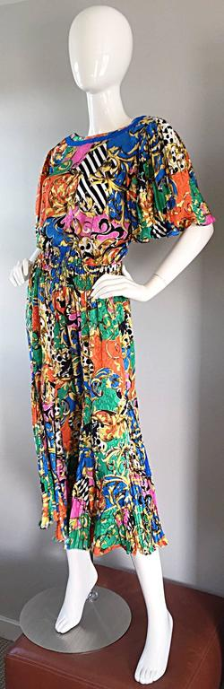 Women's Amazing Vintage Diane Freis Psychedelic Colorful Bohemian Boho Dress For Sale
